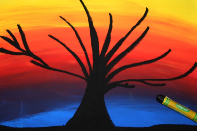 TREE SILHOUETTE – Warm and Cool Colours, Contrast - Step Five