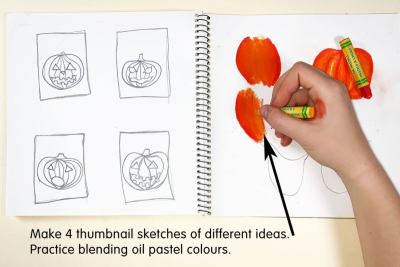 PUMPKIN FACES – Blended Colour, Expression, Contrast - Step One