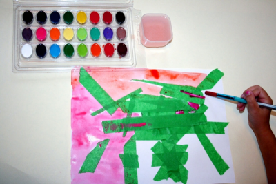 TAPE ART – Exploring Paint, Colours, Shapes and Textures - Step Two