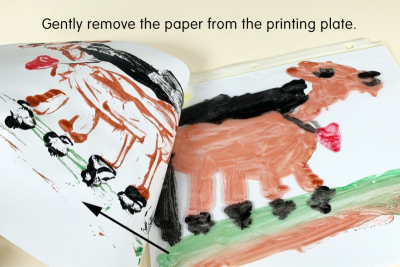 PRINTMAKING – MONOTYPES with Washable Paint - Step Three