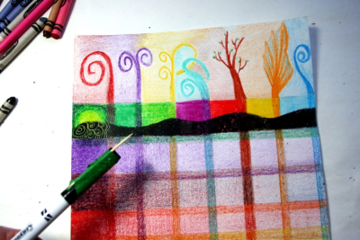 EXPLORING CRAYONS – Gradation, Sgraffito - Step Ten