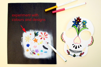 DAY OF THE DEAD SUGAR SKULL –Symmetry, Repetition, Colour - Step Six