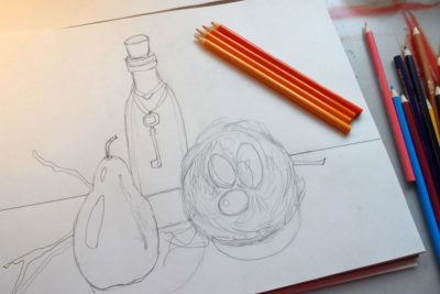 STILL LIFE WITH COLOURED PENCILS – Form, Colour, Space - Step Four