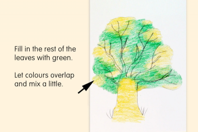 HOW TO DRAW A TREE WITH CRAYONS – Highlights, Shadows - Step Three