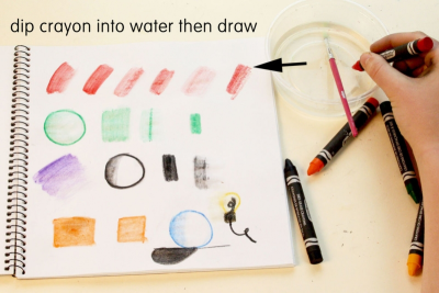 PICTURE A PROJECT – Working With Dry Erase Water Soluble Crayons - Step One