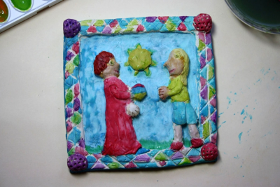 GAMES THEN AND NOW – Clay Relief Sculpture - Step Fourteen
