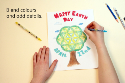 EARTH DAY CIRCLE ART – Symmetry, Colour, Contrast - Step Three