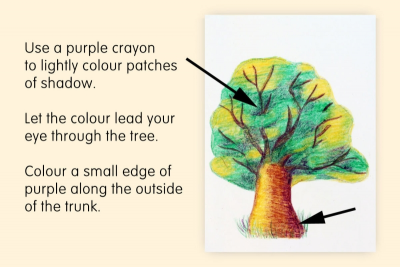 HOW TO DRAW A TREE WITH CRAYONS – Highlights, Shadows - Step Five