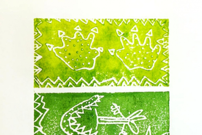 LITTLE DINOSAUR – Printmaking, Illustrating a Story - Step Ten