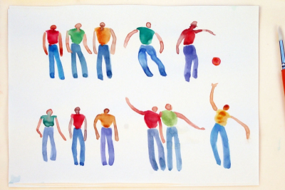 SIMPLE WATERCOLOUR PEOPLE – Shape, Gesture - Step Four
