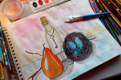 STILL LIFE WITH COLOURED PENCILS – Form, Colour, Space - Step Six