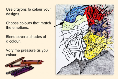 IF YOU COULD READ MY MIND – Emotions, Feelings, Line, Colour - Step Four