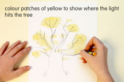 HOW TO DRAW A TREE WITH CRAYONS – Highlights, Shadows - Step Two