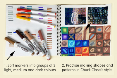 INSPIRED BY CHUCK CLOSE – Self-Portrait, Colour, Pattern, Shape - Step One