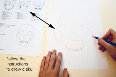 DAY OF THE DEAD SUGAR SKULL –Symmetry, Repetition, Colour - Step Two