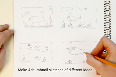 ILLUSTRATING A STORY –Coloured Pencil Techniques, Repetition - Step One
