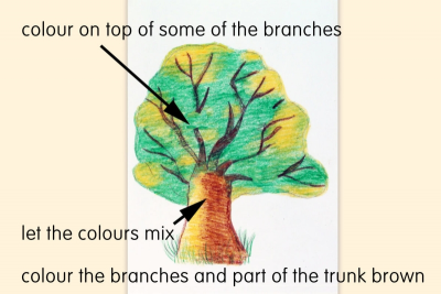 HOW TO DRAW A TREE WITH CRAYONS – Highlights, Shadows - Step Four