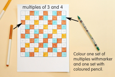 NUMBERS IN GRIDS –  Pattern, Colour, Multiples - Step Two