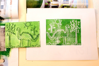 LITTLE DINOSAUR – Printmaking, Illustrating a Story - Step Nine