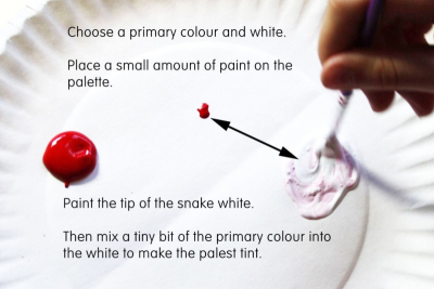 VALUE SCALE SNAKE –Mixing Tints - Step Two