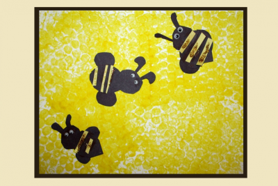 SWEET LITTLE HONEY BEES! – Printmaking, Cutting, Gluing - Step Eight