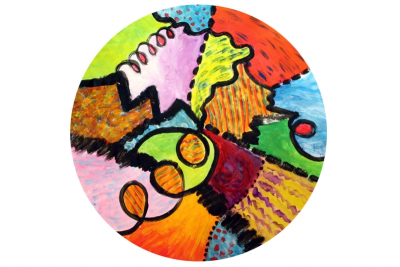 COOPERATIVE CIRCLE PAINTING –Line, Colour, Unity - Step Four