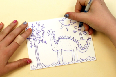 LITTLE DINOSAUR – Printmaking, Illustrating a Story - Step Two