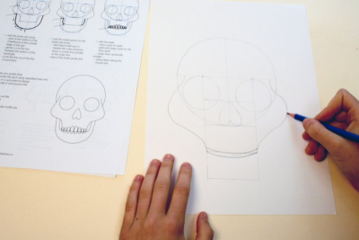 DAY OF THE DEAD SUGAR SKULL – Symmetry, Repetition, Colour - Step Two