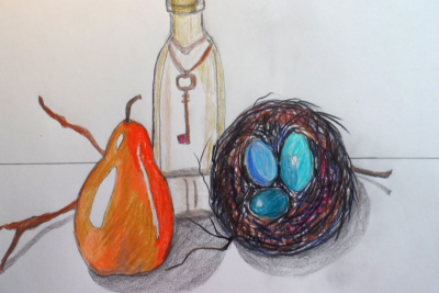 STILL LIFE WITH COLOURED PENCILS – Form, Colour, Space - Step Five