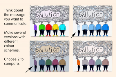 COMPARE AND CONTRAST COLOUR SCHEMES –Colour  Relationships - Step Three