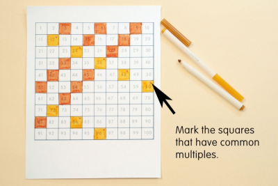 NUMBERS IN GRIDS –  Pattern, Colour, Multiples - Step One