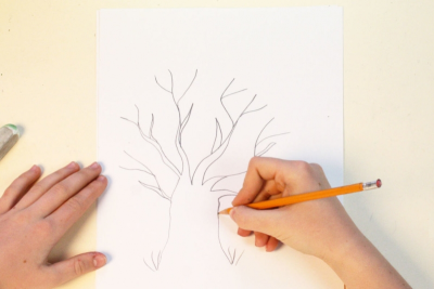 HOW TO DRAW A TREE WITH CRAYONS – Highlights, Shadows - Step One