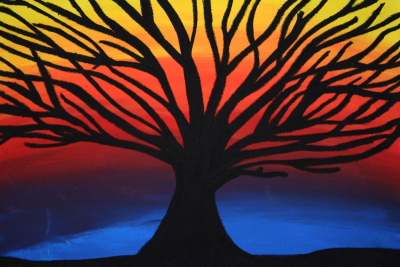 TREE SILHOUETTE – Warm and Cool Colours, Contrast - Step Six