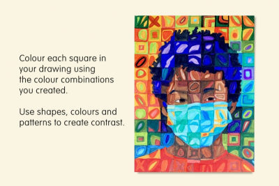 INSPIRED BY CHUCK CLOSE – Self-Portrait, Colour, Pattern, Shape - Step Three