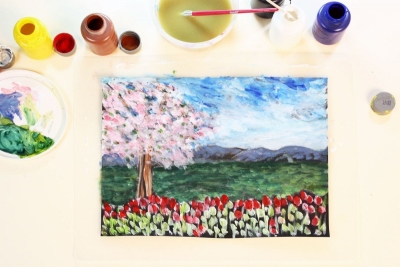 SPRING LANDSCAPE – Impressionism, Texture, Space - Step Three