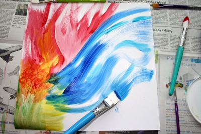 EXPLORING WASHABLE PAINT – Blending, Colour - Step Four