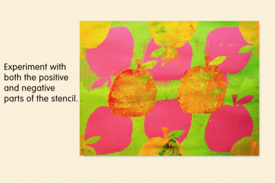 SIMPLE PATTERNS – Stencil Prints, Warm and Cool Colours - Step Six