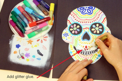 DAY OF THE DEAD SUGAR SKULL –Symmetry, Repetition, Colour - Step Seven